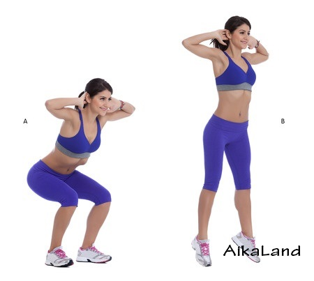 42871572 - step by step instructions: stand with your feet shoulder, width apart and place your hands behind your head. (a) squat until your thighs are parallel to the floor, then explode off upward, jumping as high as you can. (b)